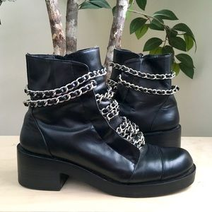 🆕 Zara Black Leather & Chain Moto Combat Boots